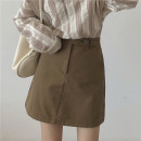 skirt Spring 2021 S,M,L Grey, black, brown Short skirt commute High waist A-line skirt Solid color Type A 18-24 years old More than 95% other Miss muzi Pocket, button, zipper Korean version