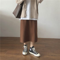 skirt Spring 2021 Average size Mid length dress commute High waist A-line skirt Solid color Type A 18-24 years old 30% and below Miss muzi other make a slit or vent Korean version