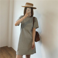 Dress Spring 2021 Gray, black S,M,L Mid length dress singleton  Short sleeve commute Crew neck Solid color Socket A-line skirt routine 18-24 years old Type A Miss muzi Korean version 91% (inclusive) - 95% (inclusive) cotton