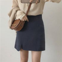 skirt Spring 2021 S,M,L Black, blue gray, brown Short skirt commute High waist A-line skirt Solid color Type A 18-24 years old More than 95% Miss muzi other zipper , make a slit or vent Korean version