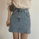 skirt Summer 2021 Short skirt High waist A-line skirt commute Solid color More than 95% Type A cotton 18-24 years old Pocket, asymmetric, button, zipper, slit Miss muzi Korean version S,M,L,XL Blue, white