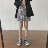 skirt Spring 2021 S,M,L Zebra - have cash less than that is registered in the accounts , Zebra - have more cash than can be accounted for Short skirt commute High waist A-line skirt Zebra pattern Type A 18-24 years old Miss muzi zipper , make a slit or vent Korean version