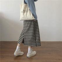 skirt Spring 2021 M, L Dark grey, light grey, beige Mid length dress commute High waist A-line skirt lattice Type A 18-24 years old 91% (inclusive) - 95% (inclusive) other Miss muzi other Split Korean version