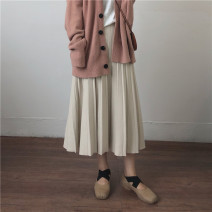 skirt Spring 2021 Average size Apricot, khaki, black, coffee Mid length dress commute Pleated skirt Solid color Type A 18-24 years old 31% (inclusive) - 50% (inclusive) Viscose Korean version