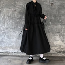 Dress Autumn 2020 black M,L,XL Mid length dress singleton  Long sleeves Sweet stand collar Loose waist Solid color Socket Cake skirt Princess sleeve Others 18-24 years old brocade cotton solar system