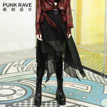 skirt Spring 2020 XS S M L XL black Mid length dress street High waist Irregular Solid color Type A 18-24 years old PQ-745BQ More than 95% Chiffon PUNK RAVE polyester fiber Polyester 100% Same model in shopping mall (sold online and offline) Punk