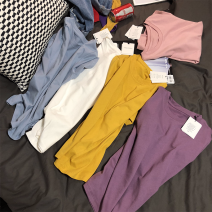 T-shirt Taro purple, cloud white, mango yellow, haze blue, cherry powder S,M,L Summer of 2018 Short sleeve Crew neck easy Regular routine commute cotton 96% and above 25-29 years old Korean version youth Solid color SAKISSA S0014 Solid color