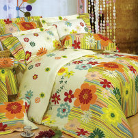 Bedding Set / four piece set / multi piece set cotton other Plants and flowers 128x70 San Anbe cotton 4 pieces 40 Bed skirt Qualified products Simplicity 100% cotton twill pigment printing  Thermal storage