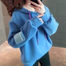 Sweater / sweater Autumn of 2019 Blue, purple, yellow, apricot, gesture T-shirt M,L,XL,XXL Long sleeves routine Socket singleton  Plush Hood easy commute raglan sleeve 18-24 years old 30% and below Korean version polyester fiber polyester fiber Intradermal bile duct