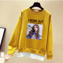 Sweater / sweater Autumn of 2019 Black, white, yellow, orange, long sleeve white T-shirt M,L,XL,2XL,3XL Long sleeves routine Socket Fake two pieces Thin money Crew neck easy Sweet routine Cartoon animation printing cotton