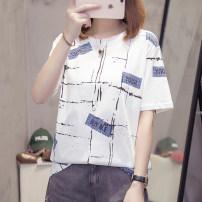 Women's large white T-shirt singleton  commute easy moderate Socket Short sleeve Abstract pattern Korean version Crew neck Medium length cotton Three dimensional cutting routine