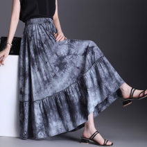 skirt Spring 2021 Average size Blue grey longuette commute High waist Pleated skirt Decor Type A other Wink Pocket lace up print Retro Pure e-commerce (online only)
