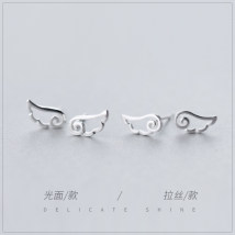 Ear Studs Silver ornaments 101-200 yuan A & rsquo; roach S925 silver drawing S925 silver smooth surface brand new Japan and South Korea female goods in stock Fresh out of the oven Not inlaid other E454-1 925 Silver Spring and summer 2014 yes