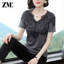 T-shirt Grey black short sleeve (lace stitching) pink short sleeve (light plate) S M L XL 2XL 3XL 4XL 5XL Summer of 2019 Short sleeve V-neck Self cultivation Regular routine commute polyester fiber 96% and above 40-49 years old lady Zhumei ZD19 Lace Polyester 100% Pure e-commerce (online only)