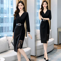 Dress Autumn 2020 black S,M,L,XL,2XL,3XL Mid length dress singleton  Long sleeves commute V-neck middle-waisted Solid color zipper A-line skirt other Others Type X Other / other Korean version More than 95% other other