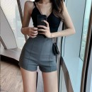 Casual pants Black, gray XS,S,M,L,XL,2XL,3XL Summer 2021 shorts Wide leg pants High waist commute Thin money 18-24 years old 30% and below Cotton blended fabric lady Hollowing out Asymmetry