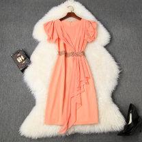 Dress Summer 2020 Black, orange S,M,L,XL,XXL Middle-skirt singleton  Short sleeve Crew neck High waist Solid color zipper One pace skirt Pile sleeve Type H LANYAYI T10943