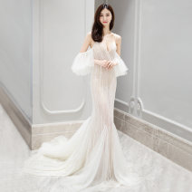 Wedding dress Spring of 2019 Champagne fishtail skirt white fishtail skirt S M L tailored Korean version Long tail Bandage Hotel Interior One shoulder other Three dimensional cutting middle-waisted 25-35 years old Diamond ornament Bridal bride Large size Pure e-commerce (online only) Auger
