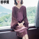 Dress Spring of 2019 Red, blue, purple Average size Mid length dress singleton  three quarter sleeve commute V-neck Loose waist Decor Socket One pace skirt Bat sleeve Others Simplicity Pleated, stitched, printed