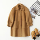 woolen coat Camel, red, black 100cm,110cm,120cm,130cm,140cm,150cm,160cm female Yulu bell Wool There are models in the real shooting nothing princess thickening winter Buckle Wool 100% Solid color tailored collar Class A