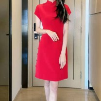 Dress Spring 2021 Red, black S#,M#,L#,XL# Middle-skirt singleton  Short sleeve commute Crew neck middle-waisted Solid color Socket A-line skirt routine 25-29 years old Type A zipper