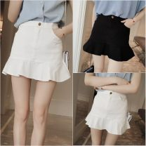 skirt Summer 2020 S,M,L Short skirt commute High waist Ruffle Skirt Solid color 18-24 years old 31% (inclusive) - 50% (inclusive) Korean version