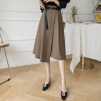 skirt Spring 2021 S,M,L,XL Camel, black Mid length dress commute High waist A-line skirt Solid color Type A 25-29 years old 81% (inclusive) - 90% (inclusive) brocade cotton zipper Korean version