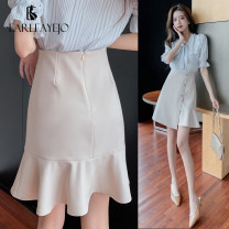 skirt Spring 2021 S M L XL 2XL Apricot black Middle-skirt commute High waist skirt Solid color Type A 25-29 years old EFJP2021CJ0206 More than 95% Earl Faye J O / erfis other Fold three dimensional decorative asymmetric button stitching Korean version Other 100% Pure e-commerce (online only)