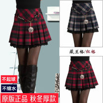 skirt Autumn 2020 Short skirt Versatile High waist Pleated skirt lattice Type A 25-29 years old 51% (inclusive) - 70% (inclusive) Wool cotton 161g / m ^ 2 (including) - 180g / m ^ 2 (including)