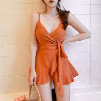 one piece  M,L,XL Orange, yellow Skirt one piece Steel strap breast pad Polyester, others female Sleeveless Casual swimsuit