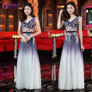 Dress / evening wear Wedding adult party company annual meeting performance S M L XL XXL 3XL Purple gradient sexy longuette High waist Autumn of 2018 Self cultivation Deep collar V Deep V style spandex 18-25 years old Sleeveless flower Decor Yuxinyue other other Handmade flowers
