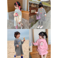 T-shirt Gray, black and white stripe, pink, cream, pink (pre-sale 3.31), black and white stripe (pre-sale 4.8) Other / other 80, 90, 100, 110, 120, 130, 140, 150 female spring and autumn Long sleeves Crew neck leisure time There are models in the real shooting nothing other Cartoon characters