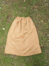 skirt Spring 2021 Average size coffee Mid length dress Versatile High waist A-line skirt Solid color Type A