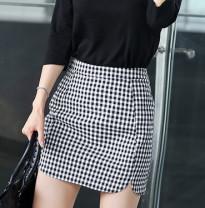 skirt Spring of 2019 XS,S,M,L,XL,2XL Black and white check Short skirt fresh High waist skirt lattice Type A Liu Dongsheng