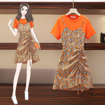 Women's large Summer 2021 orange M (70-85 kg recommended), l (85-100 kg recommended), XL (100-115 kg recommended), 2XL (115-130 kg recommended), 3XL (130-145 kg recommended), 4XL (145-160 kg recommended) Dress Fake two pieces commute moderate Socket Short sleeve Broken flowers Korean version other