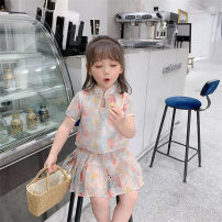 suit 2 pieces A button children Travel 18 months, 2 years old, 3 years old, 4 years old, 5 years old, 6 years old, 12 years old Tong Kexing summer female polyester Short sleeve + skirt Thin money No model Broken flowers Korean version Other 100% Chinese Mainland Class B milky white