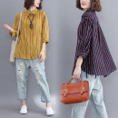 Women's large Autumn of 2018 Yellow, blue Large average size [100-200kg] shirt singleton  commute easy moderate Cardigan Long sleeves stripe literature Polo collar routine cotton Three dimensional cutting other Other / other 18-24 years old 51% (inclusive) - 70% (inclusive)