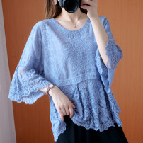 Women's large Spring 2021, summer 2021 Blue, pink Big average [recommendation 90] - 165 kg] T-shirt singleton  commute easy moderate Socket three quarter sleeve Solid color literature Crew neck routine cotton Three dimensional cutting Lotus leaf sleeve Other / other