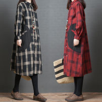 shirt Black check, red check Spring of 2019 cotton 96% and above Long sleeves commute Medium length Polo collar Single row multi button routine lattice 25-29 years old Other / other Korean version