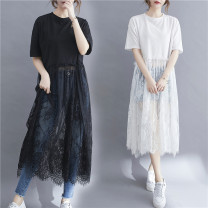 Women's large Summer 2021 White, black One size fits all [recommended 90-170 kg] Dress singleton  commute easy thin Socket Short sleeve Solid color literature Crew neck Medium length cotton Collage routine Other / other 31% (inclusive) - 50% (inclusive) longuette