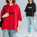 Women's large Summer 2021 Red, black T-shirt singleton  commute easy moderate Socket Short sleeve literature Hood routine cotton Three dimensional cutting Bat sleeve Other / other Embroidery 81% (inclusive) - 90% (inclusive)