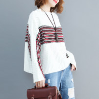 Women's large Spring 2021 white One size fits all [recommended 100-190 kg] sweater singleton  commute easy thick Socket Long sleeves stripe Korean version Crew neck routine printing and dyeing routine Other / other