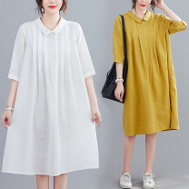 Women's large Summer 2021 White, yellow M [suggested 90-120 kg], l [suggested 120-140 kg], XL [suggested 140-160 kg], XXL [suggested 160-185 kg] Dress singleton  commute easy moderate Socket elbow sleeve Solid color literature Medium length hemp Three dimensional cutting routine Other / other Button