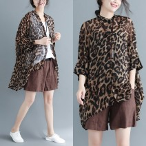 Women's large Summer 2020 Leopard shirt Large size average size [100-200kg recommended] shirt singleton  commute easy Cardigan three quarter sleeve Leopard Print literature stand collar Medium length Other / other Asymmetry 96% and above