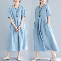 Women's large Summer 2021 blue M [suggested 90-110 kg], l [suggested 110-130 kg], XL [suggested 130-150 kg], XXL [suggested 150-180 kg] Dress singleton  commute easy moderate Socket Short sleeve Solid color literature Crew neck Medium length hemp Three dimensional cutting routine Other / other pocket