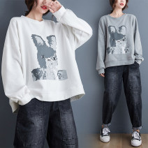 Women's large Winter 2020, autumn 2020 Grey, white Large size average size [100-200kg recommended] Sweater / sweater singleton  commute easy thick Socket Long sleeves Animal design Korean version Crew neck routine cotton printing and dyeing routine Other / other thread