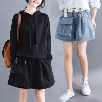 Jeans Spring 2020 Light blue, black shorts Natural waist Thin money washing Cotton elastic denim Dark color Other / other