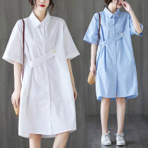 Dress Summer 2020 White, blue M [recommended 100-130 kg], l [recommended 130-160 kg], XL [recommended 160-200 kg] Mid length dress singleton  Short sleeve commute Polo collar Loose waist Solid color other Others Type A Other / other Korean version 31% (inclusive) - 50% (inclusive) other cotton