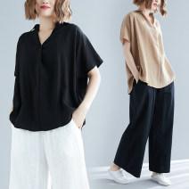 Women's large Summer 2020 Khaki, black Average size (100-210kg) shirt singleton  commute easy Short sleeve Solid color literature V-neck Medium length Other / other 71% (inclusive) - 80% (inclusive)
