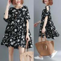 Women's large Summer 2021 black One size fits all [recommended 100-190 kg] Dress singleton  commute easy thin Socket Short sleeve Broken flowers literature Crew neck Medium length polyester Three dimensional cutting Lotus leaf sleeve Other / other 96% and above Middle-skirt Lotus leaf edge